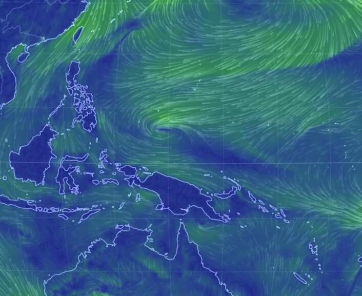 Ned fra Filippinene, og så østover ved Ny-Guinea. Vinden gjør sitt beste for å dytte varmtvannet østover i Stillehavet nå. (Bilde: EarthWindMap)
