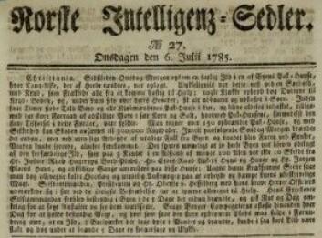 Avisartikkel om brannen på bryggen i Christiania i 1785 Norske Inteligenssedler 6.6.1785