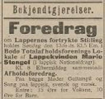 Nordlandsposten 12. april 1902. Marie Stengel skal holde møte i Bodø. Fire år før hadde hun reist i Troms og Finnmark. Bilde: Beskåret skjermdump fra Nasjonalbiblioteket