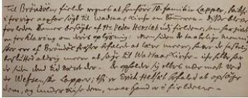 Utsnitt av innskrift fra 1734 i Trondhjems biskops visitasprotokoll (Statsarkivet i Trondheim). Her beskrives boikotten fra samene i Brønnøy. De står blant annet (...) <em>Men siden de taabelige mennisker ere af Brøndøe præster befalede at lære meere, haver de fastelig beslutted aldrig meere at søge til Wadsaas kirche</em> (...) Foto: Håkon Hermanstrand