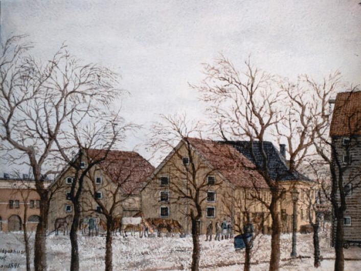 Sjøboder ved lille strandgate (Tollboden til venstre). Maler: H. I._Helliesen. eier: Oslo museum Maler: H. I._Helliesen. eier: Oslo museum