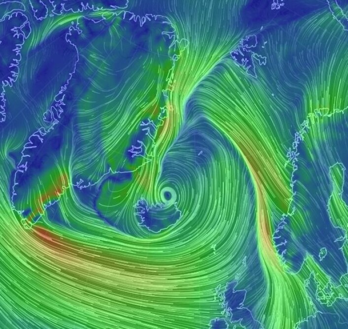 Vindkartet 15 januar i år. (Skjermdump fra EarthWindMap)