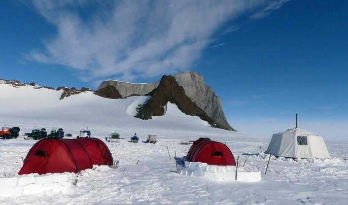 Teltleir ved foten av fjellet Hoggestabben. (Foto: Ane K. Engvik)