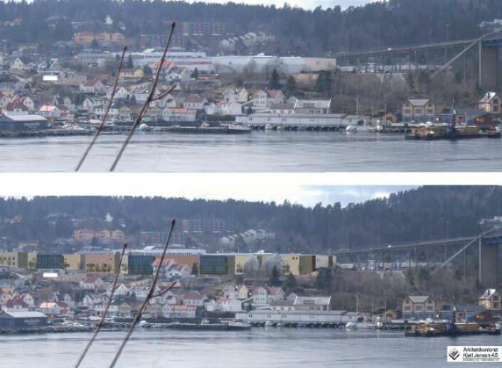 Illustrasjon: Arkitektkontoret Kjetil Jensen AS sin visualisering av Brotorvet kjøpesenter. Øverste halvdel viser området før utbygging, mens nederste halvdel viser visualiseringen av det planlagte kjøpesenteret. Foto: Arkitektkontoret Kjetil Jensen aS
