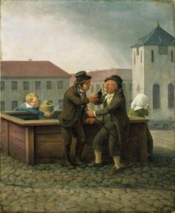 Kusker ved brønnen på Stortorvet. Kunstner: Flintoe, Johannes Oslo museum ( JWC.101)