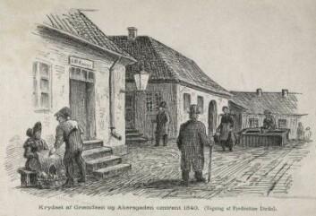 Krydset af Grændsen og Akersgaden. Kunstner: Diriks, Carl Frederik (Fyrdiriks) Oslo museum ( JWC.679 -08)