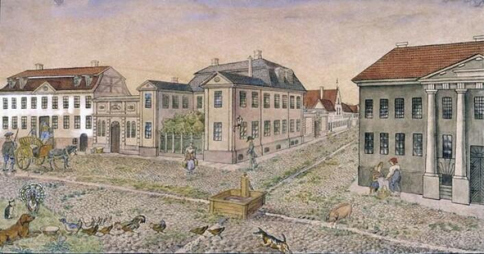 Hjørnet av Dronningens gate og Tollbugata med Krigsskolen. Byprospekt. Kunstner: Diriks, Anna Oslo museum (OB.01072)