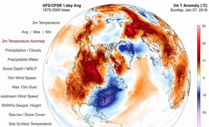 7. januar i år var en varm dag for kloden, selv om det var kaldt i New England og Florida. (Bilde: Univ. Maine)