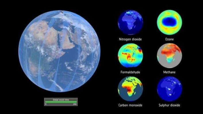 Slik vil noen av dataene fra luftkvalitetssatellitten Sentinel-5P se ut. ESA/ATG medialab