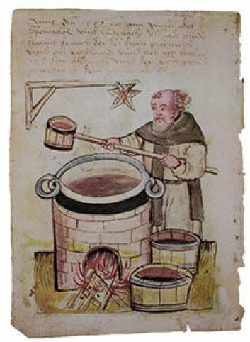 Ølbryggende middelaldermunk. ('llustrasjon: By Unknown - Hausbuch der Mendelschen Zwölfbrüderstiftung. Band 1, Nuremberg 1426–1549. Stadtbibliothek Nürnberg, Amb.317.2°.Scan via schlenkerla.de)