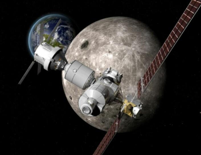 """Deep Space Gateway, slik Boeing ser den. Med romfartøyet """"Orion"""" tilkoblet. (Bilde: Boeing)"""