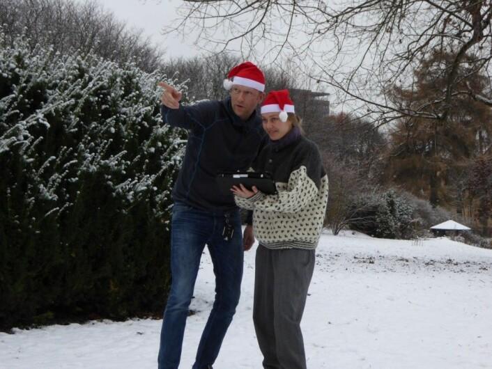 Det er som oftest lite overlapp mellom julefeiring og naturkartlegging, men det er lange tradisjoner for begge deler i Norge. Her kartlegger Heidrun A. Ullerud og Anders Bryn i Botanisk Hage i Oslo. Foto: Inger K. Volden