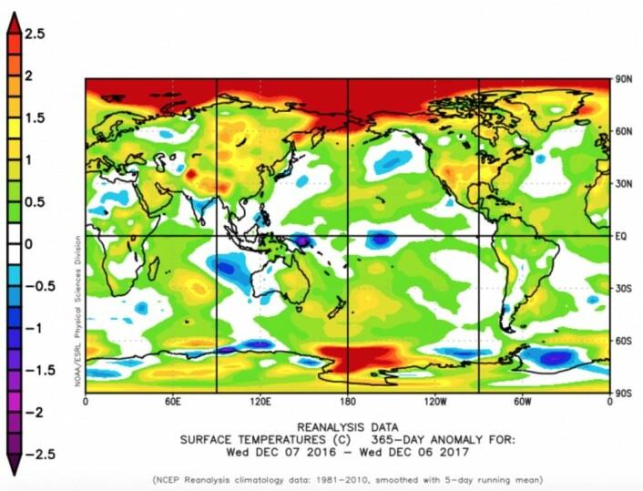 Temperatur-anomali for de siste 365 døgn, fra den amerikanske reanalysen. (Bilde: NOAA)