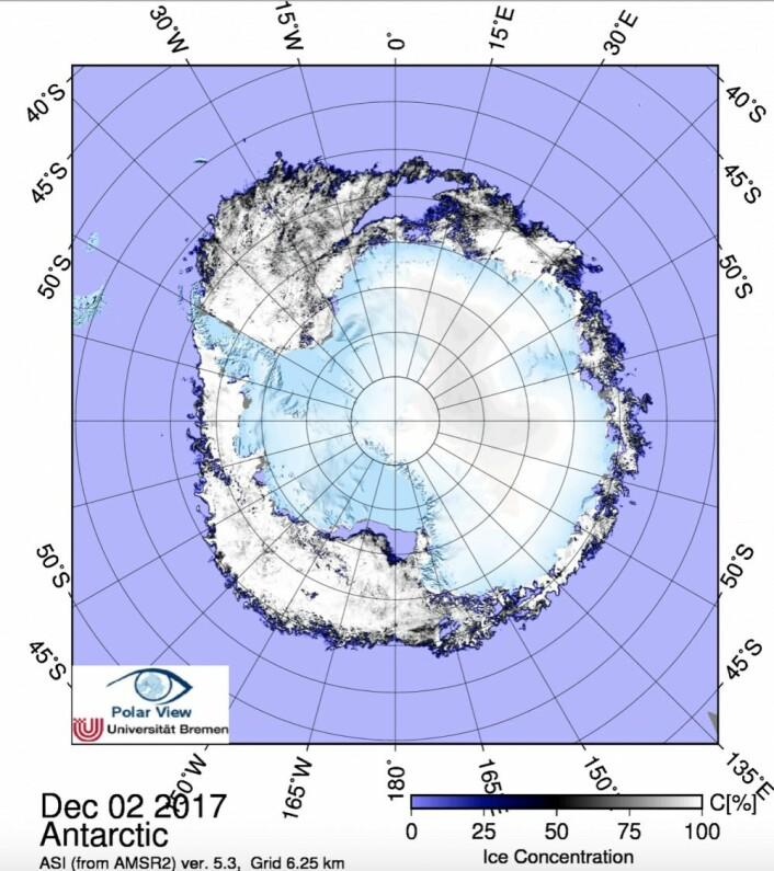 Sjøisen i Antarktis. (Bilde: JAXA-AMSR2/PolarView Univ Bremen)