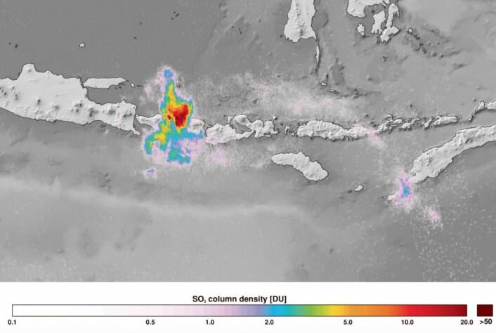 Flotte data fra Sentinel-5P. Her er SO2-utslipp fra vulkanen Agung på Bali. (Bilde: ESA/DLR)