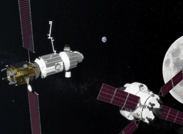 Deep Space Gateway i bane rundt Månen. (Illustrasjon: NASA)