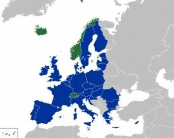 EØS/EFTA-landene i grønt, EU-medlemmer i blått. (Foto: Wikipedia)