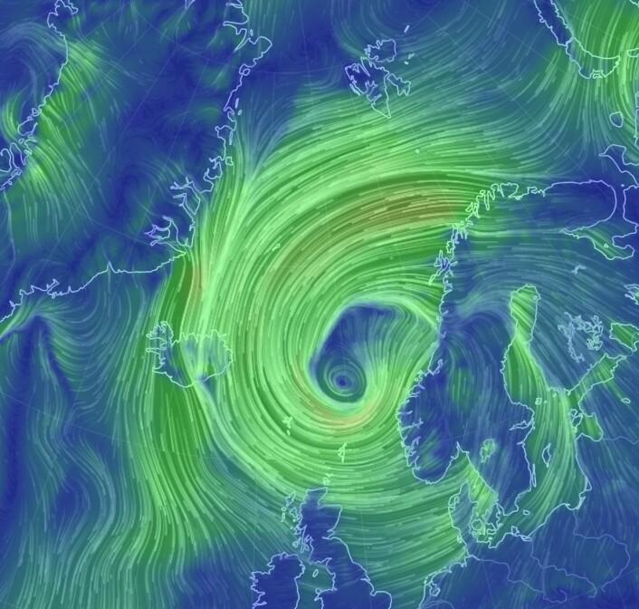 Ylvas vindfelt natt til fredag. (Bilde: EarthWindMap)