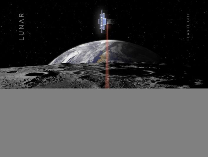 Små satellitter kan utføre verdifulle oppgaver under kartlegging av Månen. Denne illustrasjonen er fra en tidligere studie om bruk av slike satellitter. (Illustrasjon: NASA/JPL)