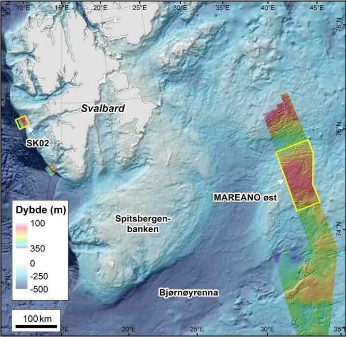 Figur 1. Kartleggingsområdene, inkludert boks SK02 vest for Svalbard og MAREANO Øst-området langs delelinja mot Russland. Illustrasjon: MAREANO