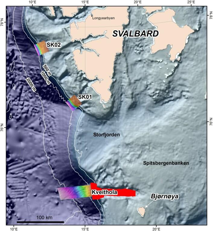 Arealbokser som skal kartlegges på eggakanten vest og sør for Spitsbergen. På grunn av langvarig storm var det ikke mulig å ta oss frem til det opprinnelig planlagte området ved delelinja øst for Svalbard. Kart: MAREANO
