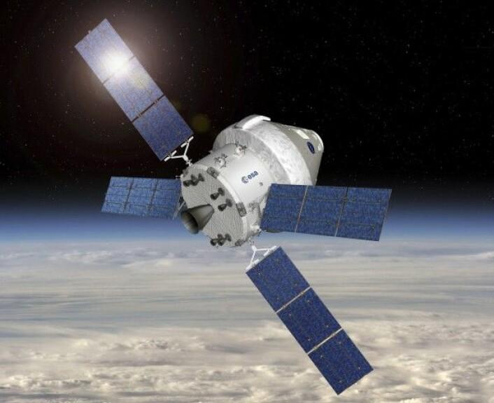 Det nye romfartøyet Orion. Den europeiske servicemodulen (her synlig med ESAs logo) sitter under styringsmodulen. ESA/D. Ducros