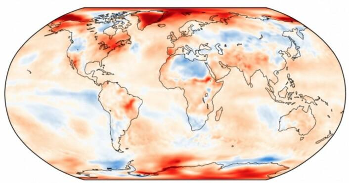 Områdene fra Grønland til Svalbard bidro sterkt til at kloden fikk den nest varmeste oktober måned som er registrert i reanalysen hos ECMWF. (Bilde: Copernicus/ECMWF)