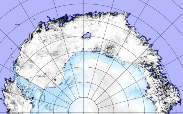 Helgens satellittbaserte sjøiskart fra Antarktis viser at smeltesesongen er i gang, og at det store hullet i isen fortsatt er der. (Bilde: JAXA-AMSR2/PolarView-Univ.Bremen)