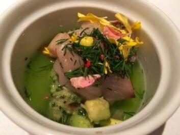 Makrell servert på en måte de fleste av oss i Norge ikke er vant til. Lekkert, og så godt! (Foto: Kine Mari Karlsen)