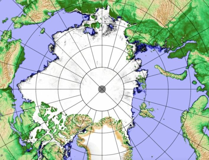 Isen la seg raskt utenfor nordkysten av Sibir denne høsten. (Bilde: AMSR2/PolarView/Univ. Bremen)