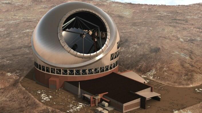 Datagrafikk viser hvordan Thirty Meter Telescope vil se ut når det er ferdig bygget. (Illustrasjon: Courtesy TMT Observatory Corporation)