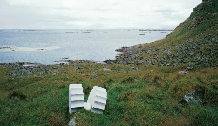«Il Nido», eller» Reiret» på Vedøya i Lofoten. (Foto: Skulpturlandskap Nordland.)