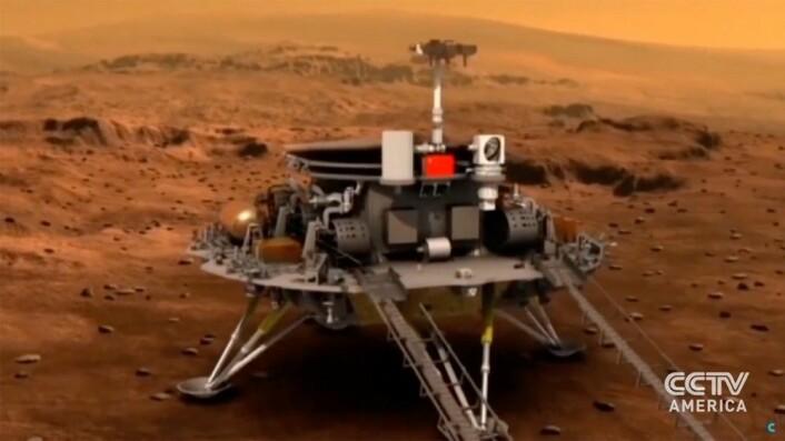 <br>Kinas første sonde til Mars skal etter planen skytes opp i 2020. Bildet er fra animasjoner utgitt av CCTV America.