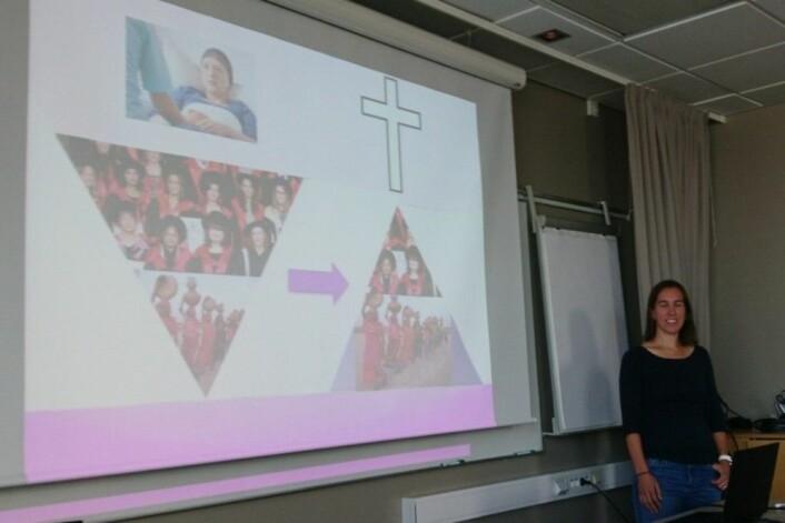 Cassie fortalte brystkreftforskningshistorien sin med den splitter nye visualiseringen på dette lysbildet. Vi var begeistret. (Foto: Privat)
