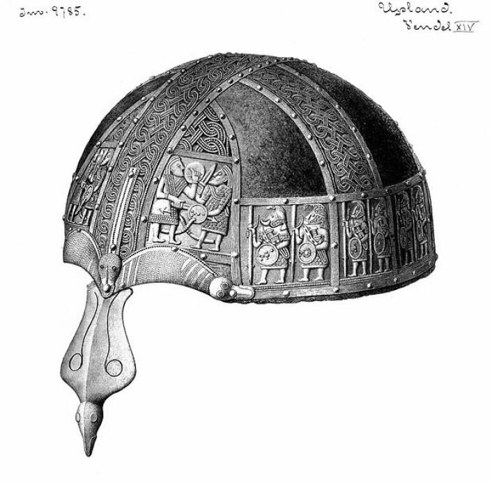 Hjelm fra Vendel grav 14. (Foto: Statens Historiska Museer)