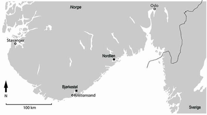Kart med markering av de to funnstedene Bjørkestøl og Nordlien. (Foto: Nielsen 2017)