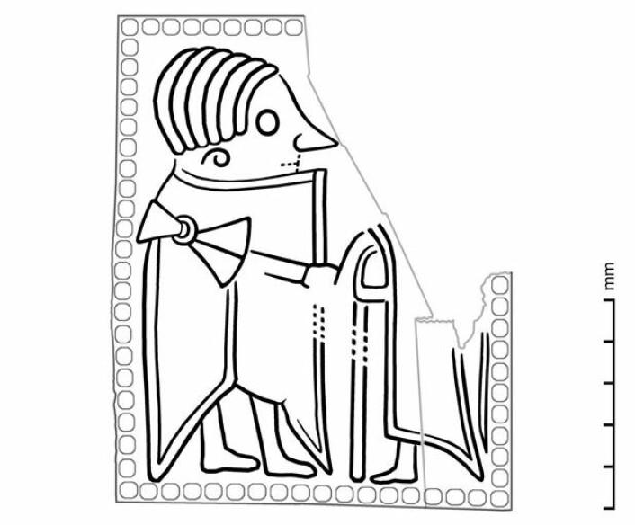 Skisse som viser figurdetaljer fra sammenbrettet område av den skadede gullgubben fra Åker. (Tegning: Vegard Vike, KHM/UiO)
