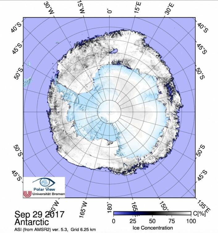 Sjøisen rundt Antarktis. (Bilde: AMSR2/PolarView/Univ. Bremen)