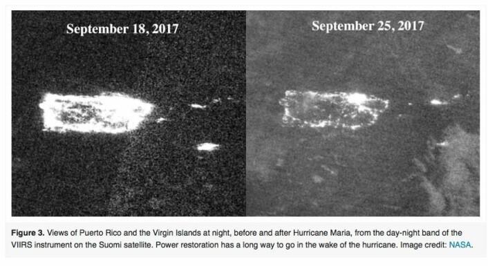 En uke og en orkan kan gjøre stor forskjell når man observerer Jorda fra satellitt. Her er nattbilder av Puerto Rico 18. sept og 25. sept. (Bilde: NASA)
