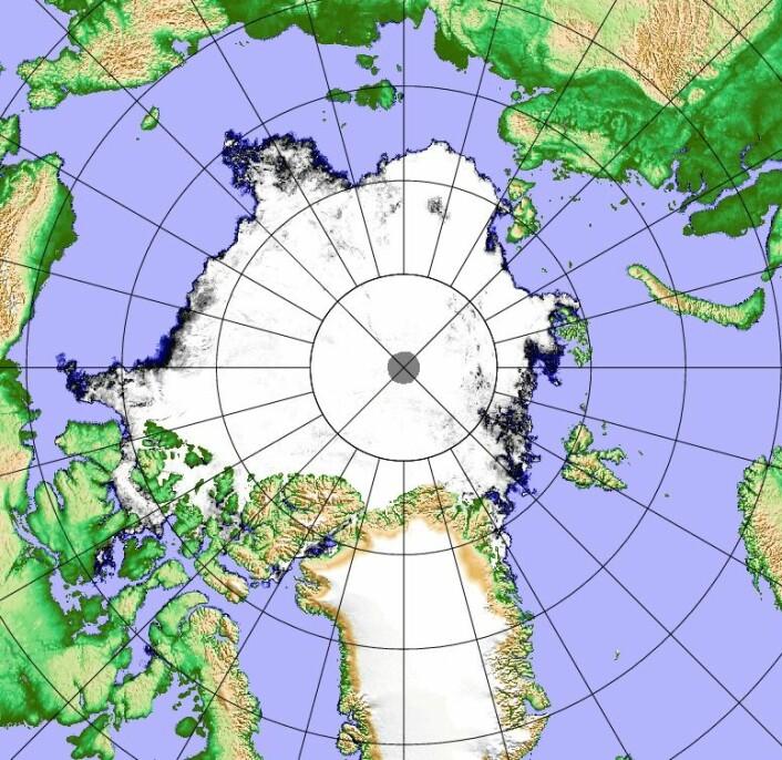 Sjøiskartet i Arktis 17. september i år. (Bilde: AMSR2/Polarview/Univ.Bremen)