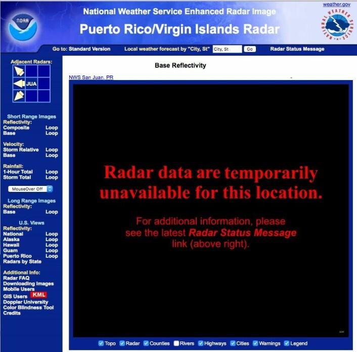 Vær-radaren på Puerto Rico spilte en viktig rolle i varslingen det siste døgnet før orkanen traff land - men til slutt måtte teknologien gi tapt for naturkreftene. (Bilde: NOAA)