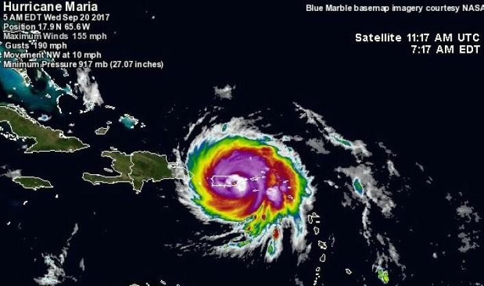 """Maria"" treffer Puerto Rico. (Bilde: wunderground.com)"