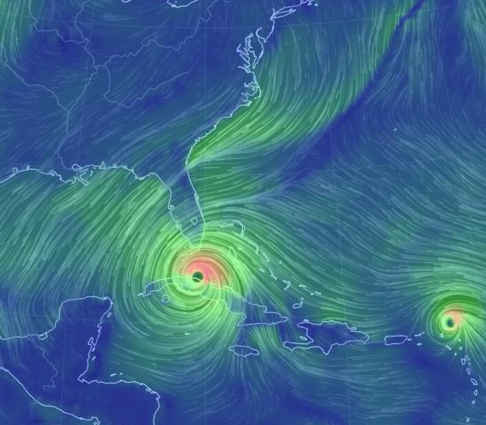 """Orkanene """"Irma"""" og """"Jose"""" tok kontroll over vindfeltet vest i Atlanteren. (Bilde: EarthWindMap)"""