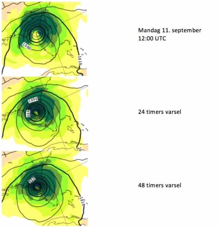 Irmas siste dag i Florida. Øverst fasiten, deretter ECMWF-prognose utstedt henholdsvis 24 timer og 48 timer i forkant. (Bilde: ECMWF og T.W.)