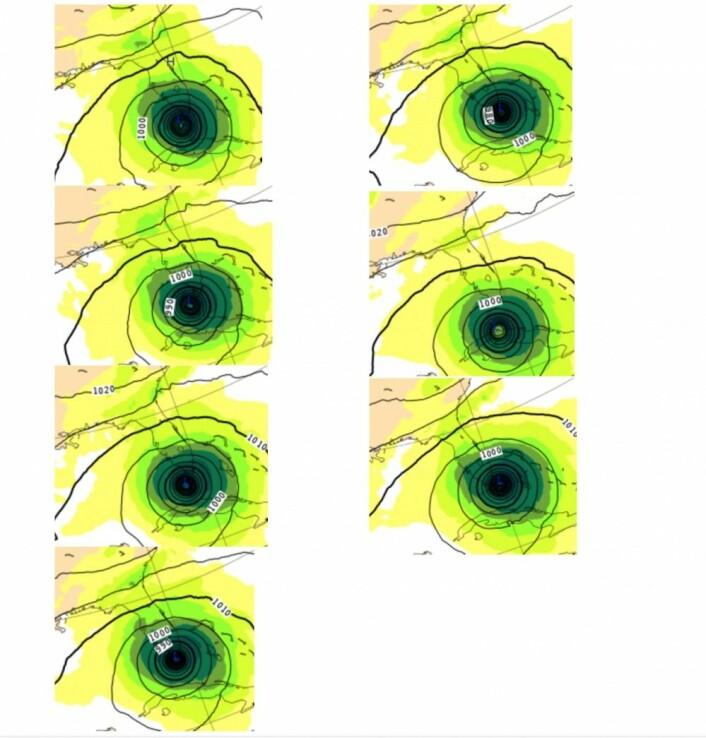 Til venstre: Prognose fra ECMWF 0, 24, 48 og 72 timer i forkant. Til høyre: Prognose utstedt 96, 120 og 144 timer i forkant. (Bilde: ECMWF og T.W.)