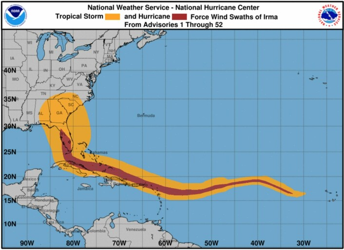 """Vindhistorien for orkanen """"Irma"""". (Bilde: NOAA NHC)"""