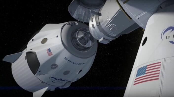 Falcon 2 skal nå i første omgang forberedes for å sende mannskaper til romstasjonen. Videre utvikling med tanke på ferder til Mars er utsatt. (Illustrasjon: fra video laget av SpaceX)