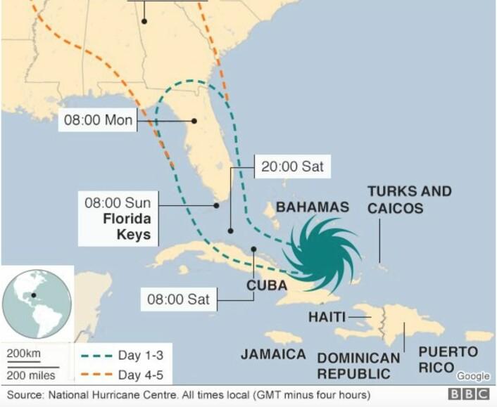 Prognosen for Irma's spor, to dager før Florida rammes. (Skjermdump fra BBC)