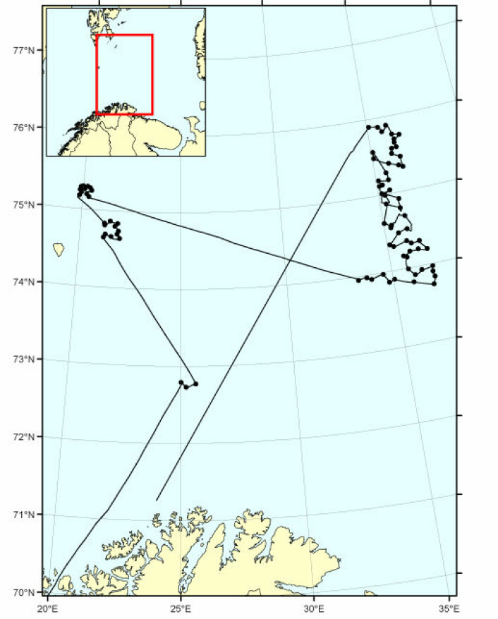 Kart over seilasen og undersøkte lokaliteter i Mareanos 25. tokt. Vi startet ved Bjørnøya og avsluttet i det nye norske sokkelarealet ved delelinja mot Russland. Foto: Mareano
