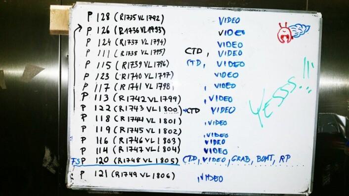 Planlagte stasjoner for de neste døgn noteres på tokttavla. Foto: Mareano